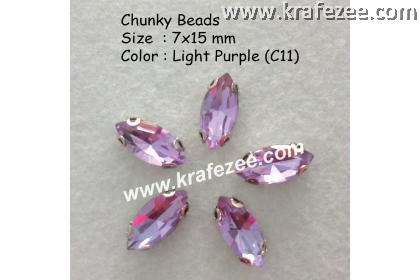 Chunky Beads (Ellipse) - Light Purple (5 pcs)