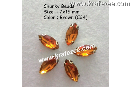Chunky Beads (Ellipse) - Brown (5 pcs)