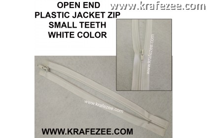 #5 Plastic Nylon Jacket Zipper White - 12""