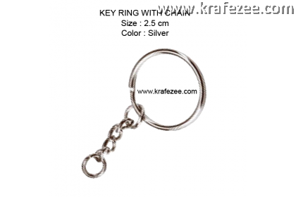 Key Ring With Chain 2.5 cm (20 pcs)