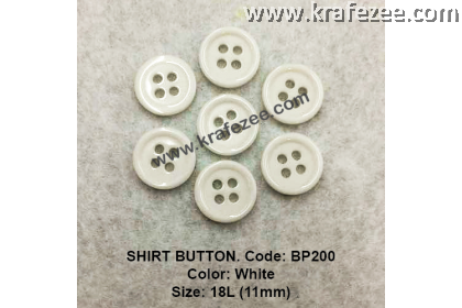 Shirt Button BP200 11mm. - Col: White (50 pcs)