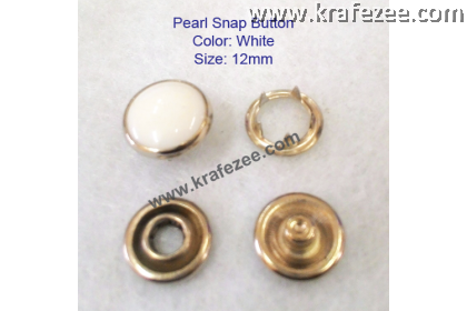 Metal Pearl Snap Fastener White (10 sets)