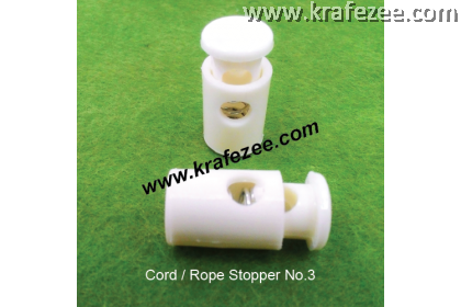 Plastic Cord Lock #3 - White (2 pcs)