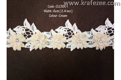 Flower Lace with Beads (CLC3D01) - Col.502
