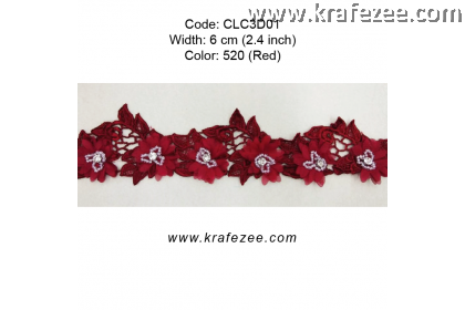 Flower Lace with Beads (CLC3D01) - Col.520