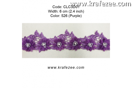 Flower Lace with Beads (CLC3D01) - Col.526