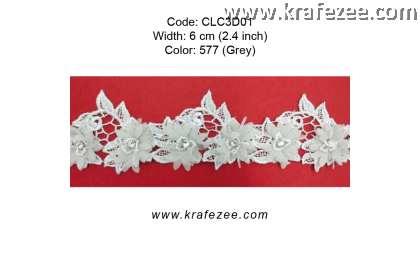 Flower Lace with Beads (CLC3D01) - Col.577