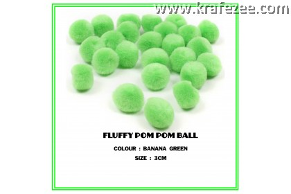 FLUFFY POM POM BALL (GREEN) (3CM) (536)