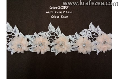 Flower Lace with Beads (CLC3D01) - Peach