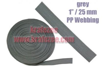 PP Webbing 1 inch / 25 mm Wide x 1 meter Long - GREY color