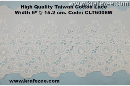 "High Quality Taiwan Cotton Lace 6"" @ 15.3 cm Wide CLT6008W"