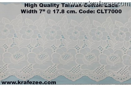 "High Quality Taiwan Cotton Lace 7"" @ 17.8 cm Wide CLT7000"