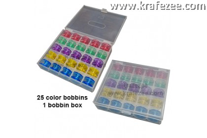 25 pieces Colorful Pastic Bobbin in Bobbin Box Organizer