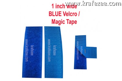 Sew On Blue Velcro Magic Tape 1 inch Wide 1 meter Long