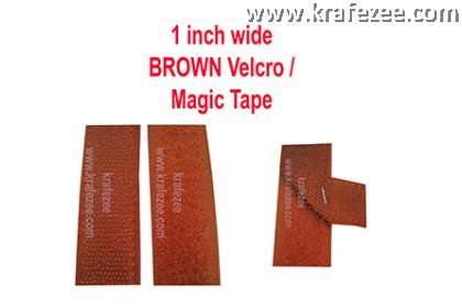 Sew On Brown Velcro Magic Tape 1 inch Wide 1 meter Long