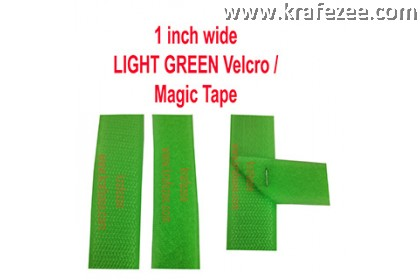 Sew On Light Green Velcro Magic Tape 1 inch Wide 1 meter Long