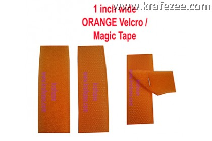 Sew On Orange Velcro Magic Tape 1 inch Wide 1 meter Long