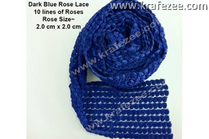 Lace Kerawang Rose Flower - Dark Blue Color