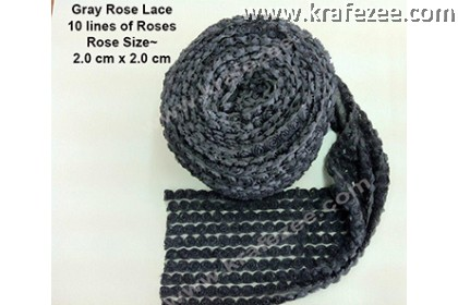 Lace Kerawang Rose Flower - Gray Color