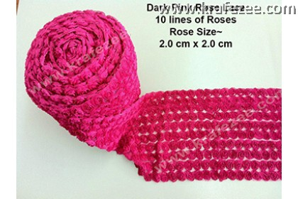 Lace Kerawang Rose Flower - Dark Pink Color