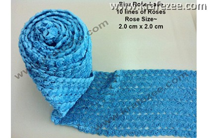 Lace Kerawang Rose Flower - Blue Color