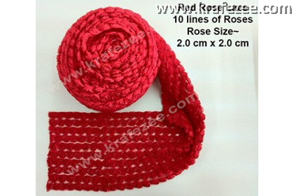 Lace Kerawang Rose Flower - Red Color