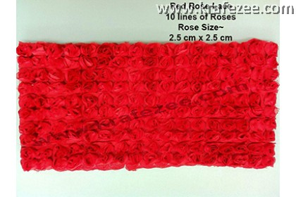 Lace Kerawang Big Rose Flower - Red Color