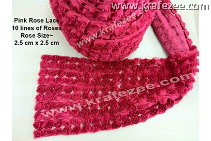 Lace Kerawang Big Rose Flower - Pink Color