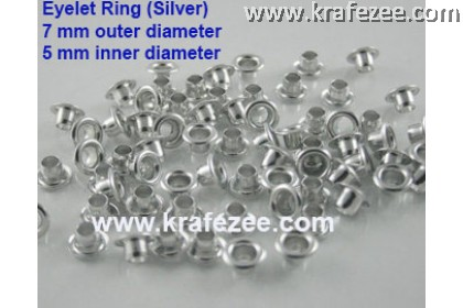 ERS7 Silver Eyelet Ring 7 mm Size