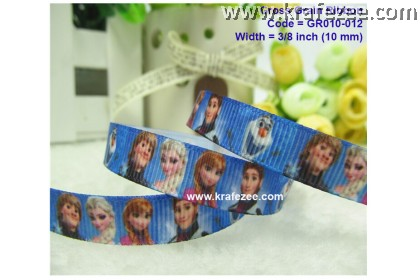 GR010-012, 3/8'' (10mm) Frozen Printed Grosgrain Ribbon Princess Ribbon