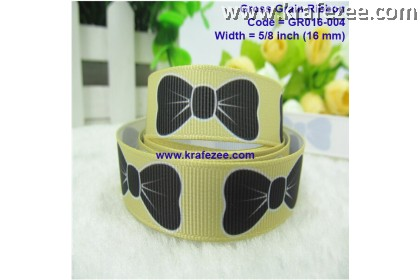 "GR016-004, 5/8"" (16mm) Yellow Bowknot Printed Grossgrain Ribbon"