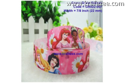 GR022-007, 7/8''(22mm)  Reben Grosgrain Pink Cartoon Girls Princess