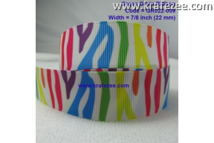 "GR022-009, 7/8"" (22mm) Rainbow Zebra Cute Grosgrain Ribbon"