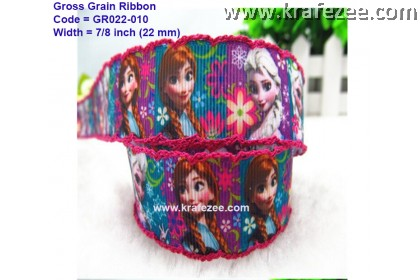 GR022-010, 7/8'' (22mm) Frozen Anna Elsa Grosgrain Ribbon With Red Edge Stitch