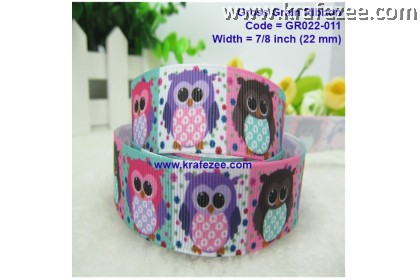 GR022-011, 7/8''(22mm) Reben Grosgrain Ribbon Animal Owl