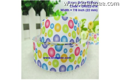 "GR022-014, 7/8"" (22mm) Cute Bubble Dots Grosgrain Ribbon"