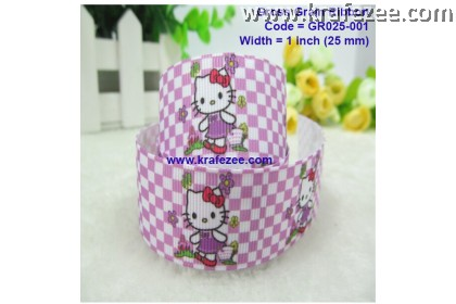 GR025-001, 1'' (25mm) Hello Kitty Grosgrain Ribbon