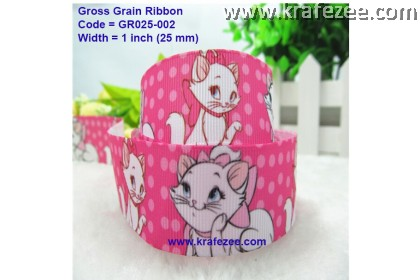 GR025-002, 1'' (25mm) Marie Cat Grosgrain Ribbon