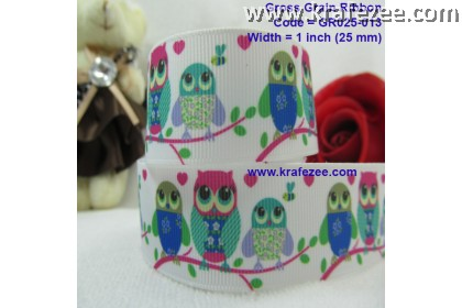 "GR025-013, 1"" (25mm) Grosgrain Ribbon Night Owl"