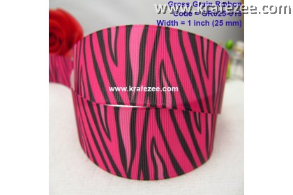 "GR025-015, 1"" (25mm) Lovely Zebra Stripes Grosgrain Ribbon"