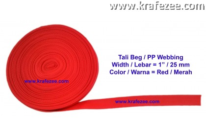 PP Webbing 1 inch / 25 mm Wide x 1 meter Long - RED color