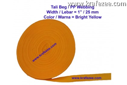 Tali Beg PP Webbing 1 inch / 25 mm Wide - BRIGHT YELLOW color