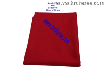 Soft Acrylic Felt Fabric - Red (1 meter)