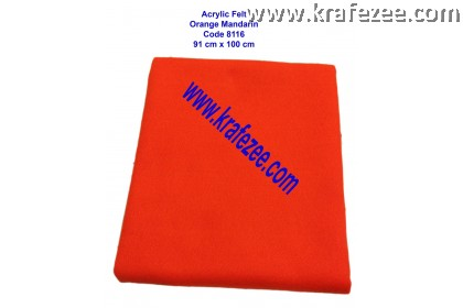 Soft Acrylic Felt Fabric - Mandarin Orange (1 meter)