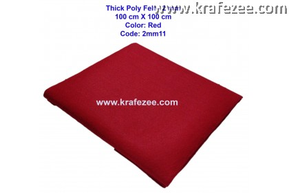Poly Felt Fabric 2mm - Red (1 meter)