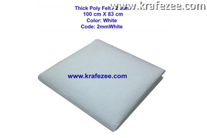 Poly Felt Fabric 2mm - White  (1 meter)