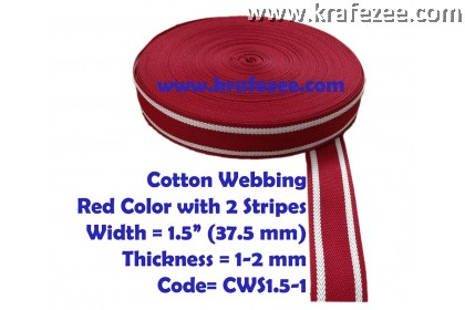 Cotton Webbing 1.5 inch / 37.5 mm Wide x 1 meter Long - RED with Stripes