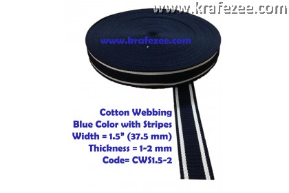Cotton Webbing 1.5 inch / 37.5 mm Wide x 1 meter Long - BLUE with Stripes