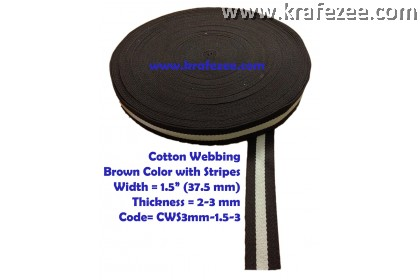 Cotton Webbing 1.5 inch / 37.5 mm Wide x 1 meter Long - BROWN with Stripes