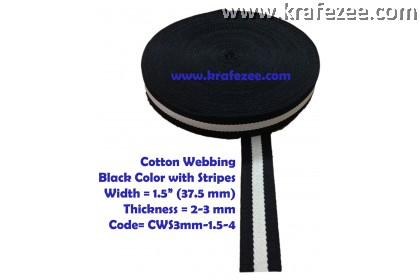 Cotton Webbing 1.5 inch / 37.5 mm Wide x 1 meter Long - BLACK with Stripes
